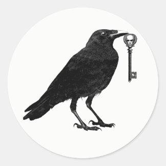 Raven Steals Skeleton Key Classic Round Sticker