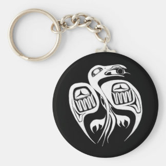 raven steals the sun , or is it the moon? basic round button key ring