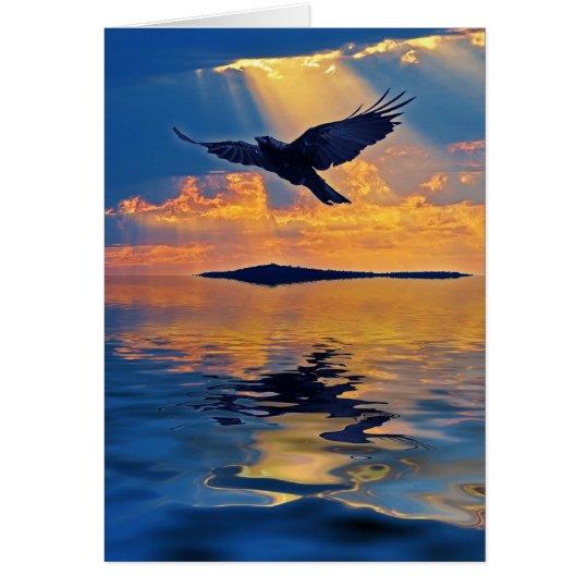 Raven & Sunset Birdlover's Greeting Card