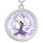 Raven Tree Lavender Purple Moon Crow Necklace