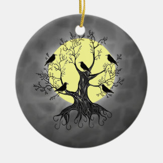 Raven Tree with Moon Christmas Ornament