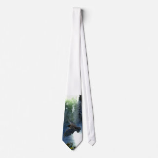 RAVEN & WATER FALL Nature Gifts Tie