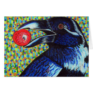 Raven with Berry Card