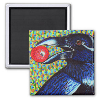 Raven with Berry Magnet