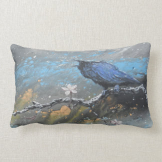 Raven with cherry blossoms in snow lumbar cushion