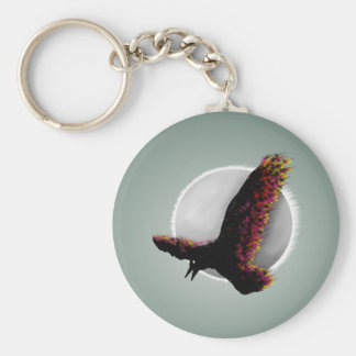 Raven With ColoR Splattered Wings Basic Round Button Key Ring
