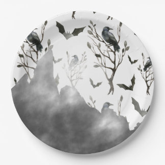 Ravens Clouds of Black and Fog Halloween 9 Inch Paper Plate