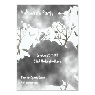 Ravens Clouds of Black and Fog Halloween Card
