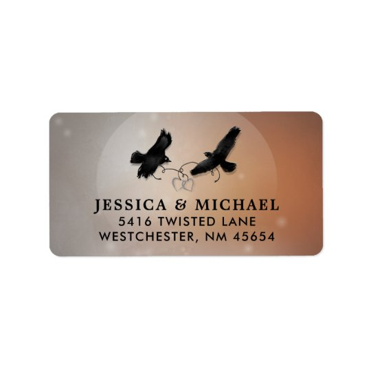 Ravens & Hearts Halloween Wedding Address Label