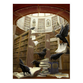 Ravens in the Library Postcard