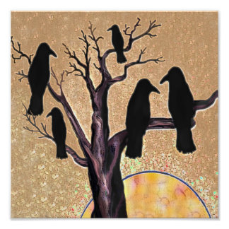 Ravens in the Tree at Dawn Poster
