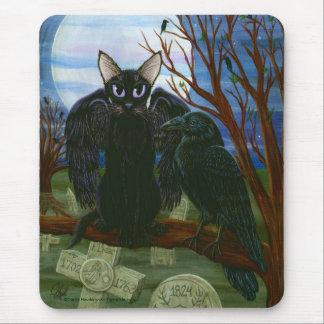 Raven's Moon Black Cat Crow Gothic Art Mousepad