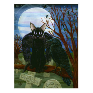 Raven's Moon Black Cat Crow Gothic Art Postcard