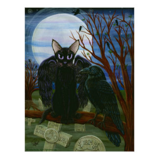 Raven's Moon Black Cat Crow Gothic Art Poster