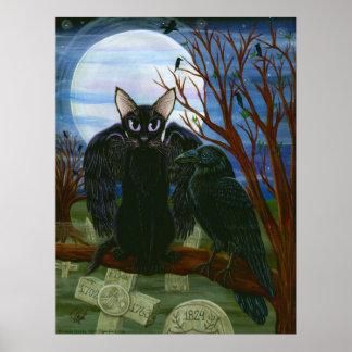 Raven's Moon Black Cat Crow Gothic Art Poster