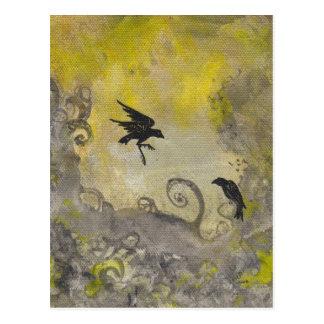 Ravens on Smokey Yellow abstract postcard