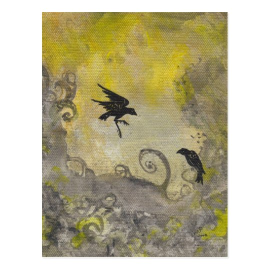 Ravens on Smokey Yellow abstract postcard