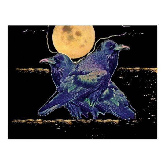 Ravens Spooky Moon by Sharles Postcard