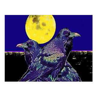 Ravens Spooky Moon @ by Sharles Postcard