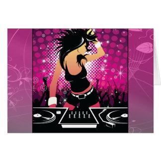 Raver Girl Dancing DJ Card