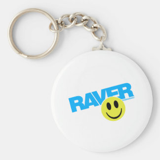 Raver Smilie - DJ Clubbing Rave Party Music Basic Round Button Key Ring