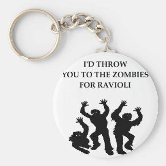 ravioli basic round button key ring