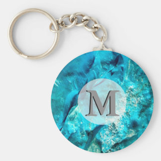 Raw And Rough Turquoise Texture Monogram Key Ring
