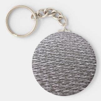 Raw Carbon Fiber Textured Basic Round Button Key Ring