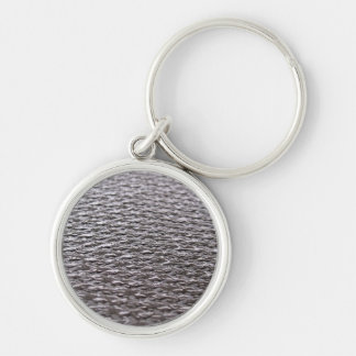 Raw Carbon Fiber Textured Silver-Colored Round Key Ring