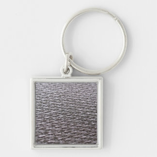 Raw Carbon Fiber Textured Silver-Colored Square Key Ring