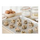 Raw cookies on baking tray postcard