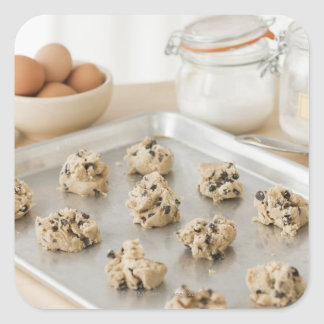 Raw cookies on baking tray square stickers