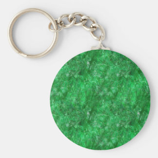 Raw crystal cut bright green emerald basic round button key ring