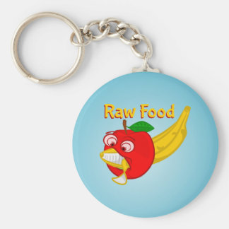 Raw Foods Food Fight Apple Verses Banana Basic Round Button Key Ring