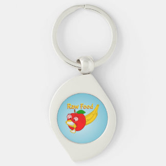 Raw Foods Food Fight Apple Verses Banana Silver-Colored Swirl Key Ring