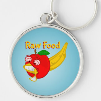 Raw Foods Food Fight Apple Verses Banana Silver-Colored Round Key Ring