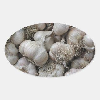 Raw Garlic Seasoning Healthy Food Wallpaper Oval Sticker