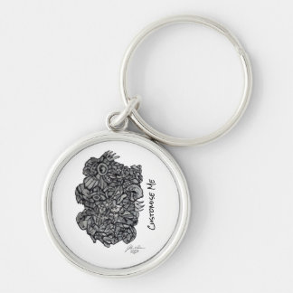 Raw Hybrid Silver-Colored Round Key Ring