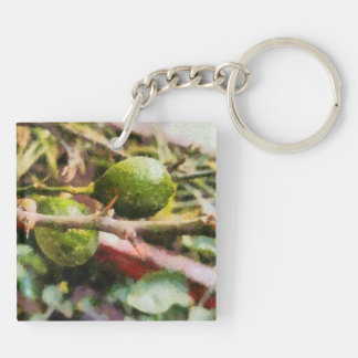 Raw lemons and spikes Double-Sided square acrylic key ring
