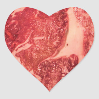 Raw Meat Ribeye Steak Texture Heart Sticker