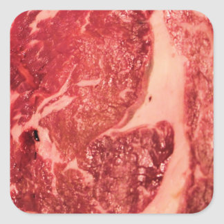 Raw Meat Ribeye Steak Texture Square Sticker