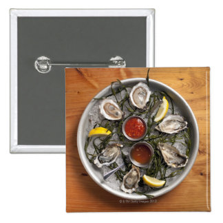 Raw oysters arranged 15 cm square badge