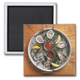 Raw oysters arranged fridge magnet