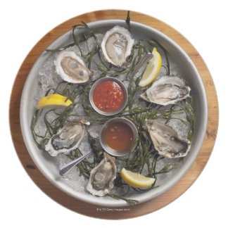 Raw oysters arranged plate