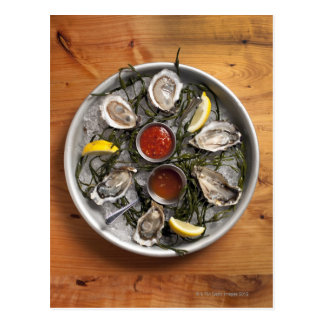 Raw oysters arranged postcard