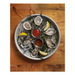 Raw oysters arranged poster