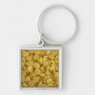 Raw pasta background Silver-Colored square key ring