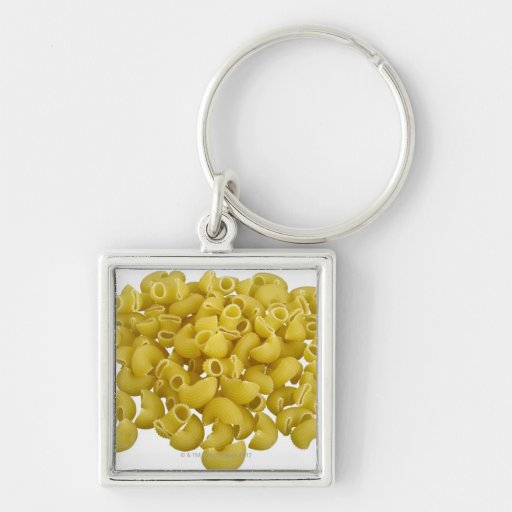 Raw pasta isolated on white background keychain