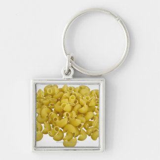 Raw pasta isolated on white background Silver-Colored square key ring
