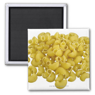 Raw pasta isolated on white background square magnet
